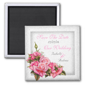 Save The Date Wedding Pretty Pink Roses Bouquet Magnet