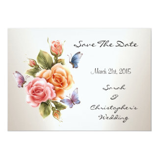 "Save The Date Wedding Pretty Pink Roses Floral 5"" X 7"" Invitation Card"