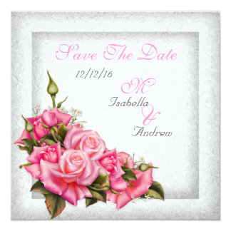 "Save The Date Wedding Pretty Pink Roses White 5.25"" Square Invitation Card"