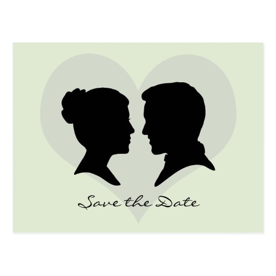 Save the Date Wedding Silhouette Postcard