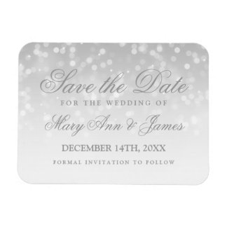Save The Date Wedding Silver Bokeh Sparkle Lights Magnet