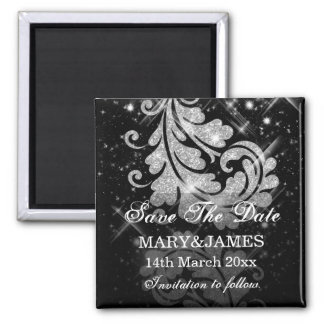 Save The Date Wedding Silver Glitter Floral Swirls Square Magnet