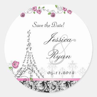 Save the Date Wedding Stickers Paris Black White