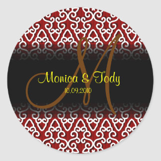 Save the date wedding stickers with monogram