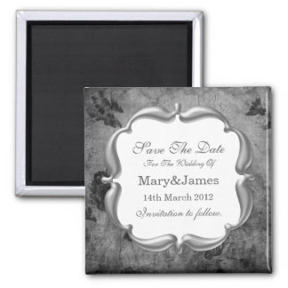 Save The Date Wedding Vintage Floral Texture Gray Magnet