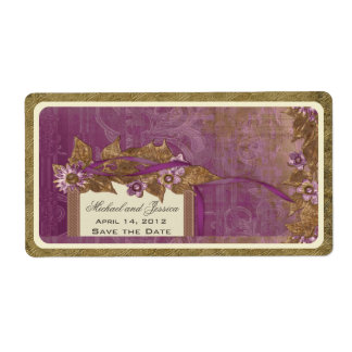 Save the Date Wedding Vintage Wine Label in Purple Shipping Label