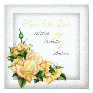 "Save The Date Wedding White Gold Yellow Green Rose 5.25"" Square Invitation Card"
