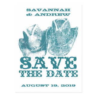 Save the Date Western Teal Cowboy Hat Weddings Postcard