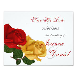 """Save The Date White Red Yellow Rose Floral 4.25"""" X 5.5"""" Invitation Card"""