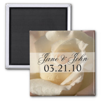 Save the Date White Rose Magnet