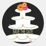 SAVE THE DATE WHITE WEDDING CAKE ROUND STICKER