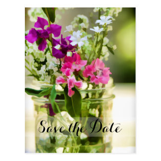 Save the Date Wildflower Bouquet Illustration Postcard