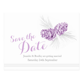 Save the date winter pine cones purple wedding postcard