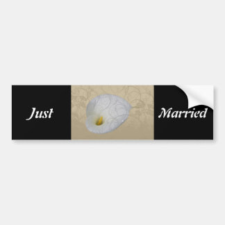 save the date with floral white dew drop lily bumper sticker