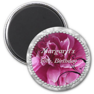 Save the Date with Pearls and Pink Floral Design Magnet