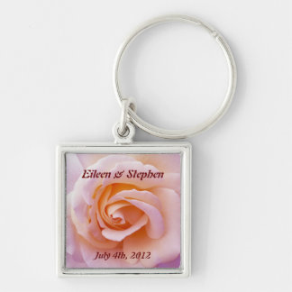 Save the date with Pink and Peach Garden Rose Silver-Colored Square Keychain