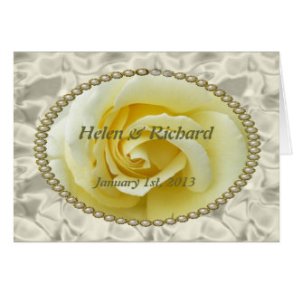 Save the date with Yellow Rose, Pearls & Satin Greeting Card