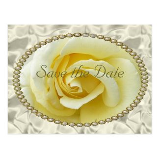 Save the date with Yellow Rose, Pearls & Satin Postcard