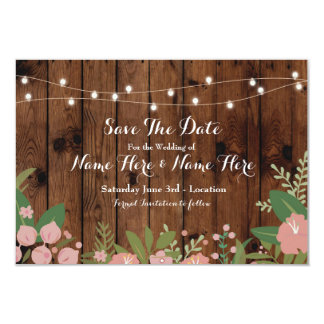 Save The Date Wood Rustic Floral Lights Invite