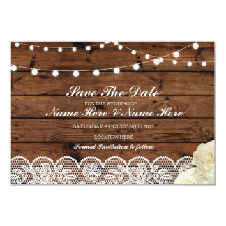 Save The Date Wood Rustic Lace Lights Card