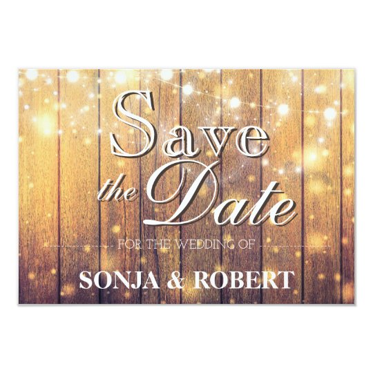 Save the Date - Wood with Lights Card