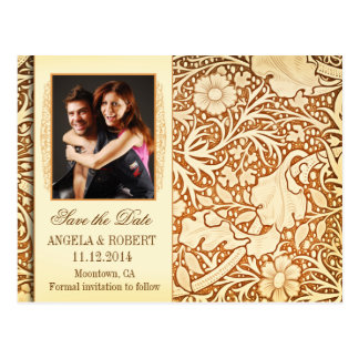 save the date yellow brown photo postcards