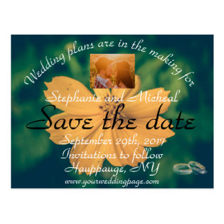 Save the Date Yellow Flower and Rings Postcard