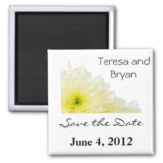 Save the Date yellow flower Square Magnet