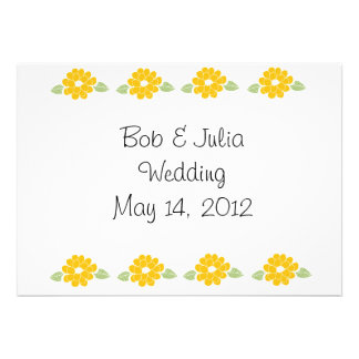 Save the Date Yellow Flowers Custom Invitations