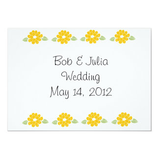 Save the Date Yellow Flowers 5x7 Paper Invitation Card