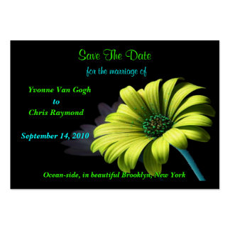 Save The Date Yellow Green Daisy Business Card Templates