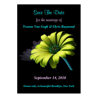 Save The Date Yellow Green Daisy I Business Card Template