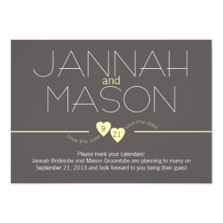 "Save the Date Yellow Hearts 5"" X 7"" Invitation Card"