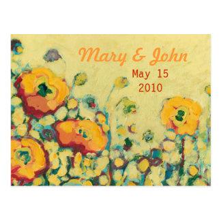 Save the Date Yellow & Orange Poppy Postcard