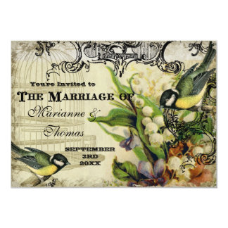 """Save the Date, Yellow Song Bird Cage Swirl Floral 5"""" X 7"""" Invitation Card"""