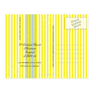 Save the Date Yellow Stripes Postcard
