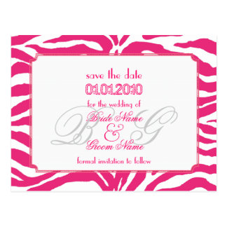 Save the Date, zebra + monogram Postcard