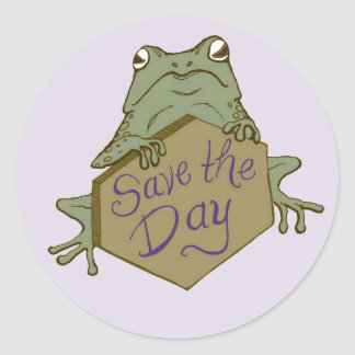 Save the Day Frog, for Save the Dates Classic Round Sticker