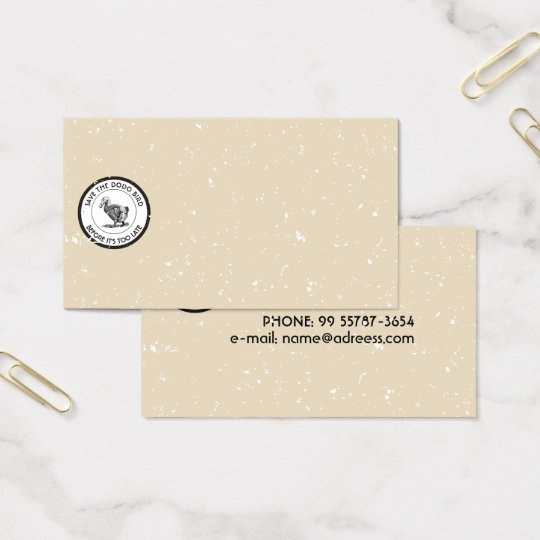 SAVE THE DODO BIRD BUSINESS CARD