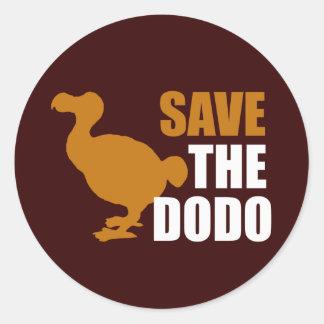 Save The Dodo Bird! Classic Round Sticker