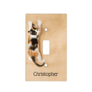 Save the Earth Kitten climbing the wall lightswitc Light Switch Cover