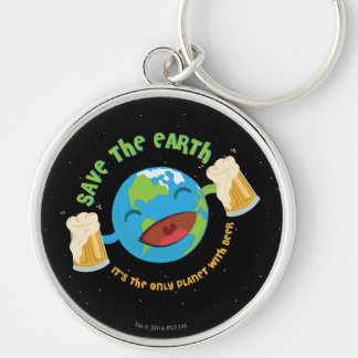 Save The Earth Silver-Colored Round Keychain