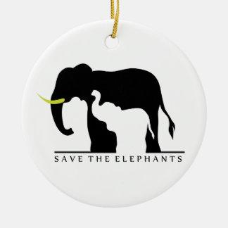 Save the Elephants Ceramic Ornament