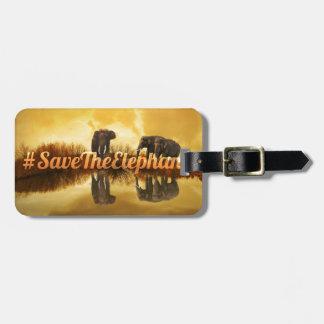Save The Elephants Design Luggage Tag