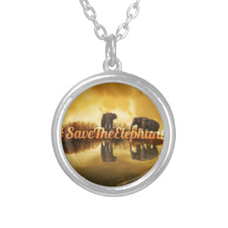Save The Elephants Design Silver Plated Necklace