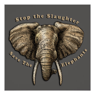 Save the Elephants Graphic Poster
