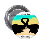 Save the Elephants heart trunks Pinback Button