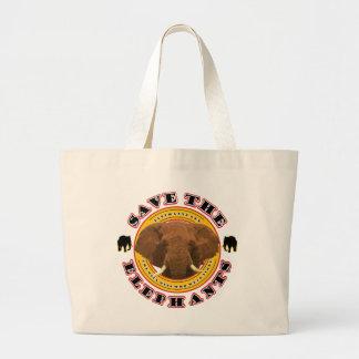 Save The Elephants Large Tote Bag
