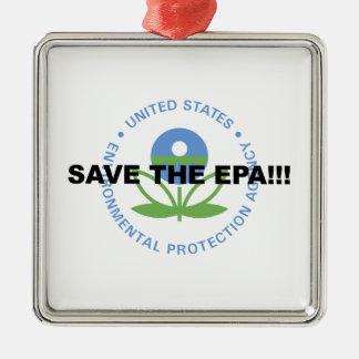 Save the EPA Silver-Colored Square Ornament