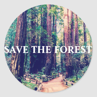Save the forest classic round sticker